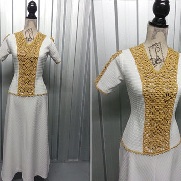 70s White and Gold Dress Lame Dress Egyptian Dress Grecian Dress Metallic Dress Cleopatra Dress White Greek Dress Sheer White Party Dress
