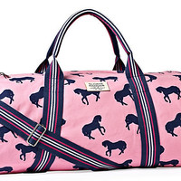 One Kings Lane - Get Preppy - Horses Canvas Duffel, Pink/Navy