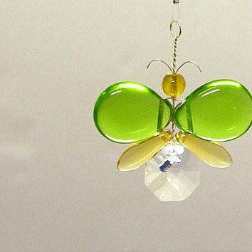 Swarovski Crystal Suncatcher Hanging Butterfly Ornament Wedding Garland Car Charm Rear View Mirror Charm Gold Butterfly Kid Mobile Christmas