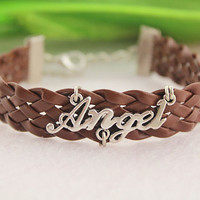 bracelet--my angel bracelet,antique silver charm bracelet, brown braid leather bracelet,love jewelry