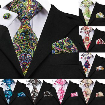 Hi-Tie Brand Vintage Floral Silk Tie Sets Mens Ties Designers Fashion Neck Ties Hanky Cufflinks Gravata Print Ties For Men Shirt