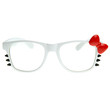 Cute Womens Hello Kitty Bow Clear Lens Glasses With Whiskers 8499