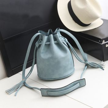 2017 Lady Bucket Tassel shoulder bag drawstring hobo crossbody bag Women's Vintage Messenger Bags