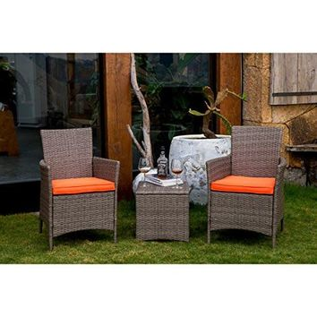 Patio Festival 3 Piece Wicker/Rattan Chair and Side Table Set Comes With Cushions