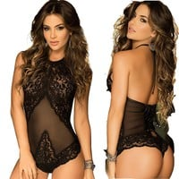 Women's Sexy Lingerie, Lace Bodysuit One Piece Mesh Teddy Babydoll