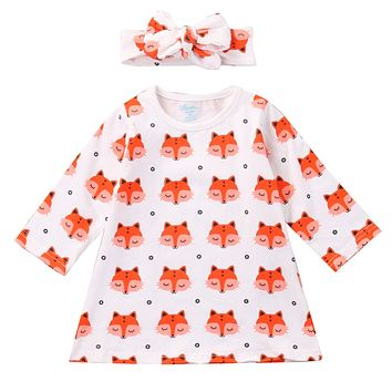 New Spring Newborn Cute Baby Girl Clothes Long Sleeve Cotton Fox Dress Headband 2PCS Outfit Infant Bebes Casual Dresses