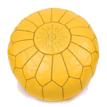 Set of 2 Moroccan leather Pouf Ottoman Poof Pouffe pouffes hassock Footstool yellow