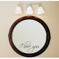 I love you decal mirror decal stocking stuffer
