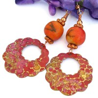 Orange Brass Hoop Earrings Sponge Coral Boho Artisan Handmade Dangle Jewelry