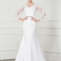 C.V Long Sleeve Illusion Plus Size Mermaid Wedding Dress 2018 Crystal Sash Casamento Embroidery Court Train Wedding Gowns W0148
