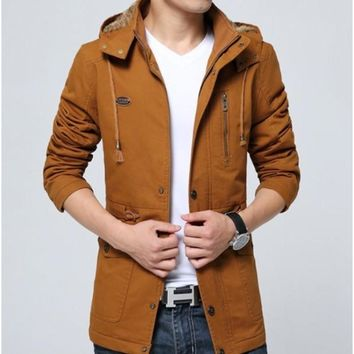 Men Military Style Hooded Trench Coat in Trendy Orange Brown