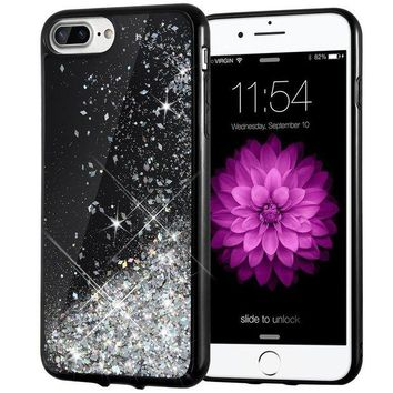 VONEXO9 iPhone 7 Plus Case, Caka [Starry Night Series] Bling Flowing Floating Luxury Liquid Sparkle TPU Bumper Glitter Case for iPhone 6 Plus/6S Plus/7 Plus/8 Plus (5.5 inch) - (Silver)