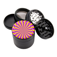 "Buzzed Spin Illusion - 2.25"" Premium Black Herb Grinder - Custom Designed"