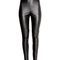 Imitation Leather Leggings - from H&M