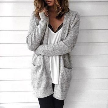 LMFON Loose Long-Sleeved Knit Cardigan Sweater Jacket