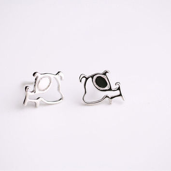 Dog earrings, 925 sterling silver earrings