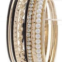 Black & Pearls Bangle Bracelet