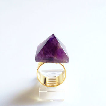Amethyst Crystal Ring, Statement Ring, Cocktail Ring