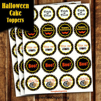 Halloween Cake Toppers - Bite Me Cupcake Toppers - Happy Halloween Labels - Halloween Stickers - Halloween Cupcake Toppers Itsy Bitsy Spider