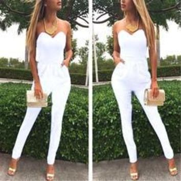 Fashion Neck Elastic Waist Jumpsuits Rompers [7939691463]