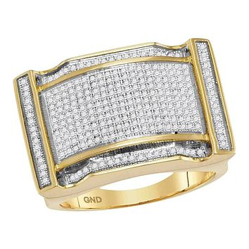 10kt Yellow Gold Men's Round Diamond Arched Rectangle Cluster Ring 3/4 Cttw - FREE Shipping (US/CAN)