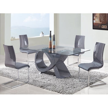 Global Furniture USA 989DT 5 Piece Rectangular Glass Dining Room Set