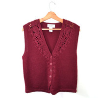 Vintage Sweater Sweater Vest Cranberry Sweater Vest Burgundy Sweater Vest 80s Sweater Vest Koret Sweater Women's Sweater