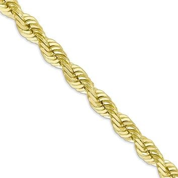 Men's 7mm 10k Yellow Gold Diamond Cut Solid Rope Chain Necklace, 22in