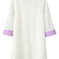 ROMWE Lace Rolled-cuffs Cropped Sleeves White Dress