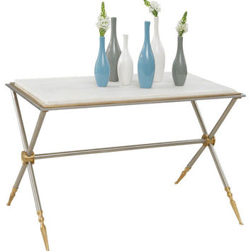 Global Views | Campaign Cocktail Table-Nickel and White Marble