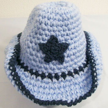 Baby Boy Cowboy Hat-Windsor Blue and Light Blue--Baby Shower Gift-#110