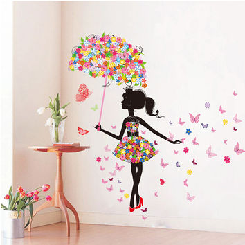 DIY Wall Stickers Pink butterfly Girl