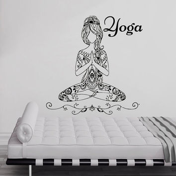 Wall Decals Yoga Lotus Pose Vinyl Sticker Decal Words Gym Decor Home Interior Design Bedroom Studio Window Dorm Art Murals MN509