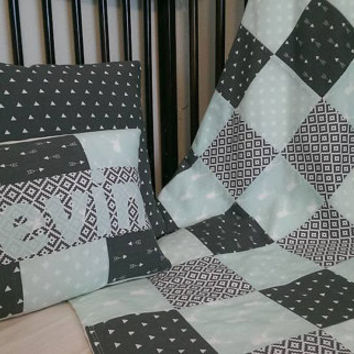 Baby boy tribal aztec patchwork blanket, pillow, personalized gift set - mint gray aztec nursery decor - ultimate baby shower gift!