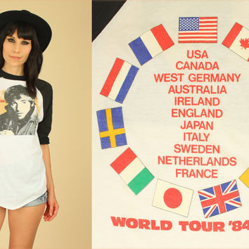 ViNtAgE BRUCE SPRINGSTEEN and the E Street Band 1985 World Tour T-Shirt // Born in the USA // 80's Concert Tee Raglan Rock n Roll Large L