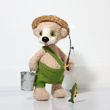 Handmade Teddy Bear Fisher - Artist Teddy Bear / Hand Crochet and Felted Bear / OOAK