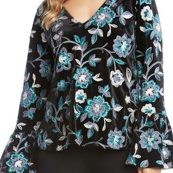 Karen Kane Embroidered Floral Velvet Top | Nordstrom