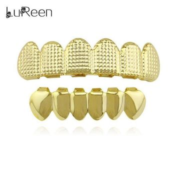 ac spbest LuReen Hiphop Gold Lattice Shape Teeth Grillz Dental Top & Bottom Grills Set Party Halloween Teeth Caps Jewelry LD0020
