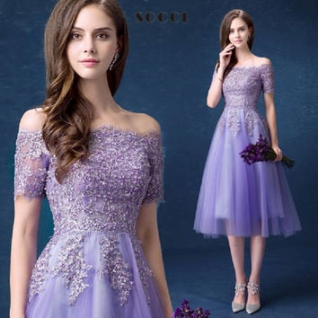 Lavender Lace Sexy Boat-Neck Strapless Cocktail Dress 2016 New Lace-up Back Women Tea-Length Gowns Lady Wedding Party Dresses