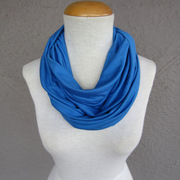 Blue Infinity Scarf - Bright Blue Circle Scarf - Light Cobalt Fashion Cowl