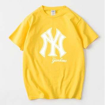 NY New fashion letter print couple top t-shirt Yellow