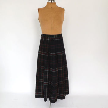Vintage Retro Long Wool Blue Plaid Circle Skirt Pleated Wool A Line Classic Preppy School Girl Size Small Medium Maxi 1950s Turnabout Skirt