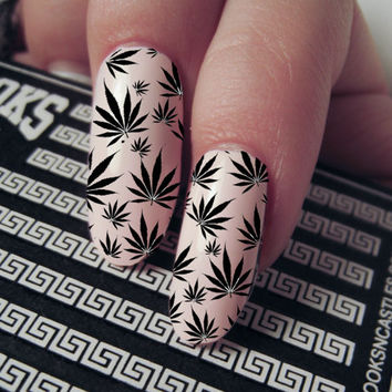 Nail Decals Marijuana Pot Leaf Pattern From Facciaxo On Etsy