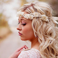 Ruffle Flower and Vintage Lace Wedding Halo Headband - Bridal head piece - wedding hair accessories -  ivory and rhinestone flowers