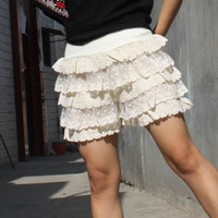 40% OFF ON SALE-----Lace shorts Base skirt  Shorts  Cake short  Divided skirts beige skirt shorts