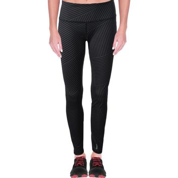 Reebok Womens Crosswalk Lines Yoga Fitness Athletic Leggings