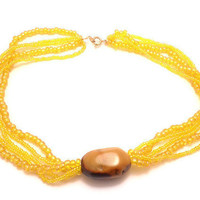 Yellow Jasper Necklace With Beads by Septagram on Etsy