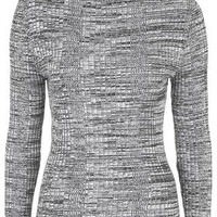 Ribbed Roll Neck Sweater - Monochrome
