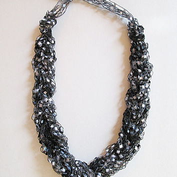 Ribbon Yarn Necklace, Ladder Yarn Necklace, Trellis Yarn Necklace, Black And Silver