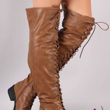 Pebbled Vegan Leather Lace-Up OTK Riding Boots